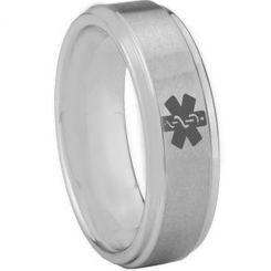 COI Tungsten Carbide Medic Alert Step Edges Ring-TG3056