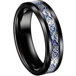 COI Tungsten Carbide Black Blue Dragon Ring With Carbon Fiber-TG4356