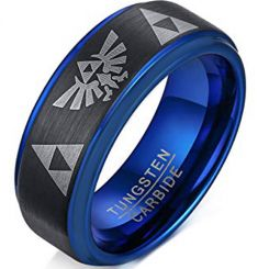 COI Tungsten Carbide Black Blue Legend of Zelda Ring-TG305