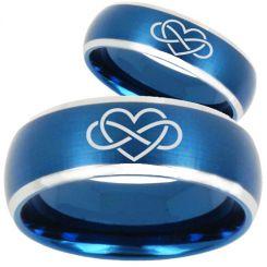 *COI Tungsten Carbide Blue Silver Infinity Heart Ring-TG3063
