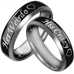 *COI Tungsten Carbide Black Silver His Crazy Her Weirdo Ring-3067