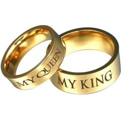 COI Gold Tone Titanium King Queen Pipe Cut Flat Ring-3073