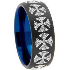 COI Titanium Black Blue Cross Dome Court Ring-3082