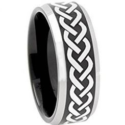 COI Titanium Black Silver Celtic Beveled Edges Ring-3086
