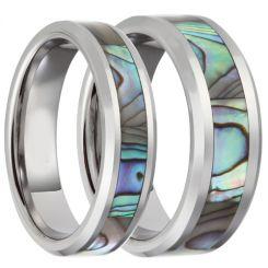COI Titanium Abalone Shell Beveled Edges Ring-JT3089