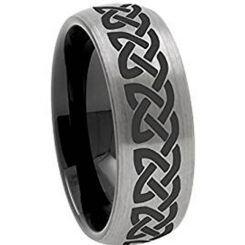 COI Titanium Black Silver Celtic Dome Court Ring-3106