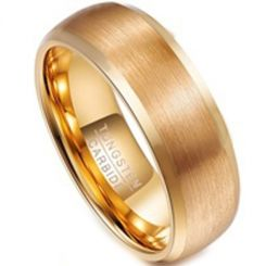 COI Gold Tone Tungsten Carbide Beveled Edges Ring-TG3108