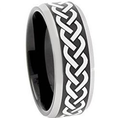*COI Tungsten Carbide Celtic Beveled Edges Ring-TG3109AA