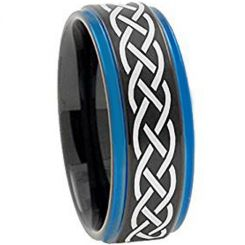 COI Tungsten Carbide Black Blue Celtic Step Edges Ring-TG3149AA