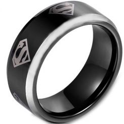 *COI Titanium Black Silver Superman Beveled Edges Ring-JT3161