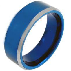 COI Titanium Blue Silver Beveled Edges Ring-3171
