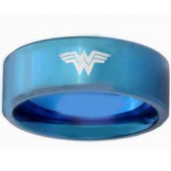 COI Blue Titanium Wonder Woman Pipe Cut Flat Ring-3175