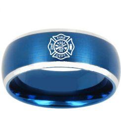 *COI Titanium Blue Silver Masonic Beveled Edges Ring-3187
