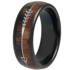 COI Black Titanium Ring With Arrows & Wood-319