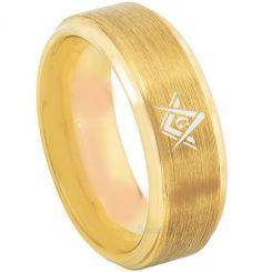 *COI Gold Tone Titanium Masonic Step Edges Ring-3216