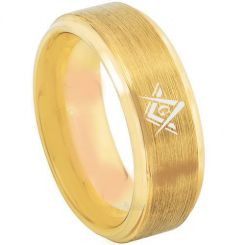 COI Gold Tone Tungsten Carbide Masonic Step Edges Ring-TG3216