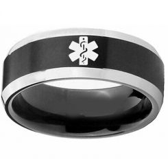 COI Tungsten Carbide Black Silver Medic Alert Ring-TG3218