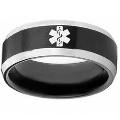 COI Tungsten Carbide Black Silver Medic Alert Ring-TG3218