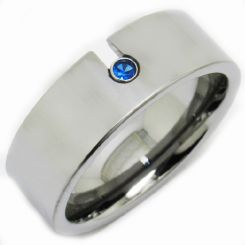 COI Tungsten Carbide Ring With Created Sapphire-TG3231