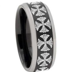 COI Titanium Black Silver Cross Beveled Edges Ring-3250
