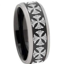 COI Tungsten Carbide Black Silver Cross Beveled Edges Ring-TG3250
