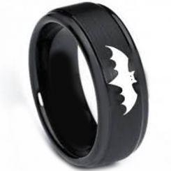 COI Black Tungsten Carbide Batman Step Edges Ring-TG3264BB