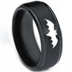 *COI Black Titanium Batman Step Edges Ring-3264