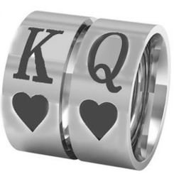 COI Tungsten Carbide King Queen Heart Ring-TG3287