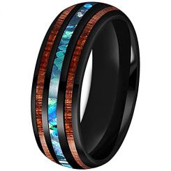 *COI Black Titanium Ring With Abalone Shell and Wood-3315