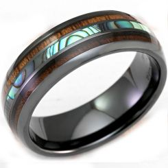 COI Black Tungsten Carbide Abalone Shell & Wood Ring-TG3315