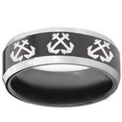 COI Titanium Black Silver Anchor Beveled Edges Ring-3331