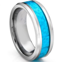 COI Tungsten Carbide Crushed Opal Beveled Edges Ring-TG3336