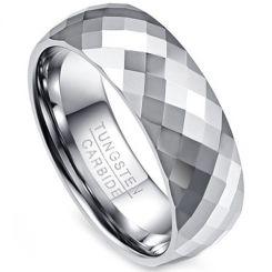 COI Tungsten Carbide Faceted Wedding Band Ring - TG333