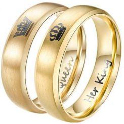*COI Gold Tone Titanium King Queen Crown Dome Court Ring-3343