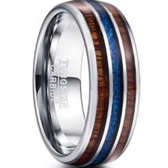 COI Tungsten Carbide Meteorite & Wood Dome Court Ring-TG3343