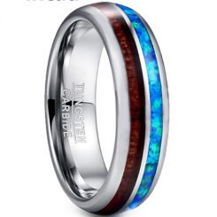 COI Tungsten Carbide Blue Crushed Opal & Wood Ring-TG3362