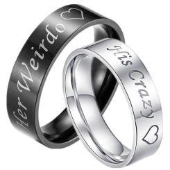*COI Tungsten Carbide Black/Silver His Crazy Her Weirdo Ring-TG3376