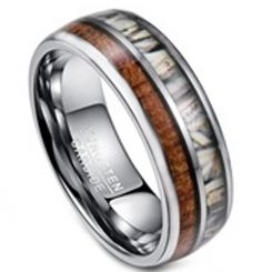 COI Tungsten Carbide Camo & Wood Dome Court Ring-TG3395