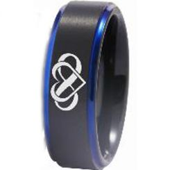 COI Tungsten Carbide Black Blue Infinity Heart Ring-TG3408
