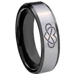 COI Tungsten Carbide Black Silver Infinity Heart Ring-TG3437