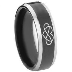*COI Titanium Black Silver Infinity Heart Beveled Edges Ring-3446