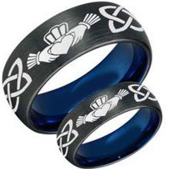 *COI Titanium Black Blue Mo Anam Cara Celtic Ring-3447
