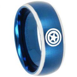 COI Tungsten Carbide Blue Silver Green Lantern Ring-TG3451