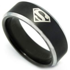 **COI Titanium Black Silver Superman Beveled Edges Ring-3459