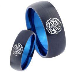*COI Titanium Black Blue Firefighter Dome Court Ring-3465