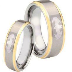 *COI Tungsten Carbide Gold Tone Silver Batman Step Edges Ring-TG4277