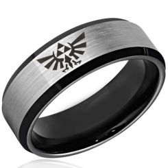 COI Tungsten Carbide Black Silver Legend of Zelda Ring-TG3477