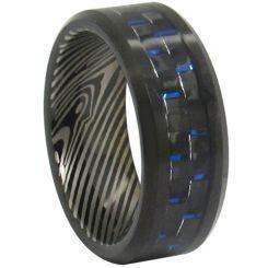 COI Black Tungsten Carbide Damascus Carbon Fiber Ring-TG347
