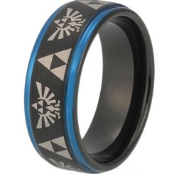 COI Tungsten Carbide Black Blue Legend of Zelda Ring-TG3483