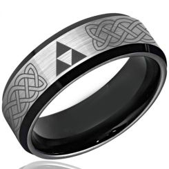 COI Tungsten Carbide Black Silver Legend of Zelda Ring-TG3493